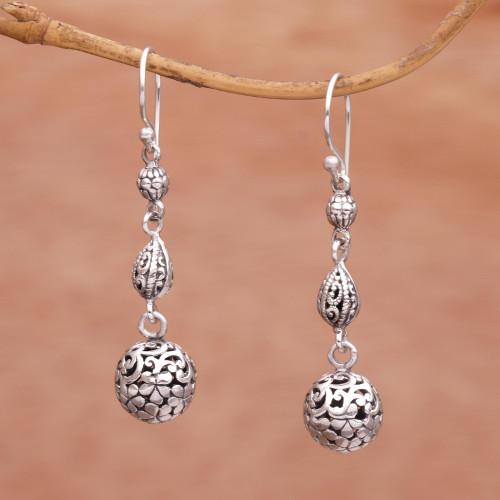 Indonesian Artisan Handmade 925 Sterling Silver Orb Earrings 'Forest Orbs'