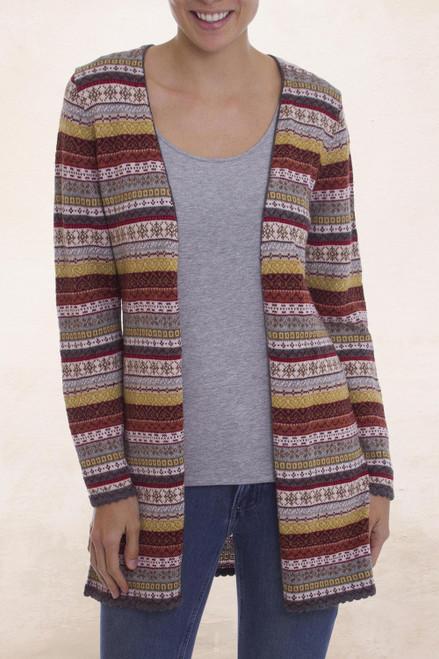 Multi-Color Patterned Striped 100 Alpaca Knit Cardigan 'Pattern Cornucopia'