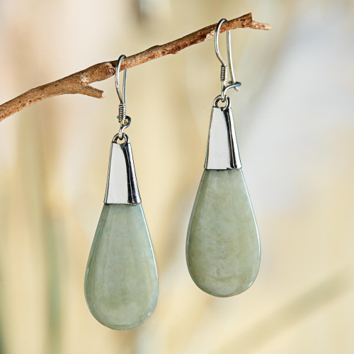 Pale Green Jade and Sterling Silver Teardrop Dangle Earrings 'Subtle Dewdrops'