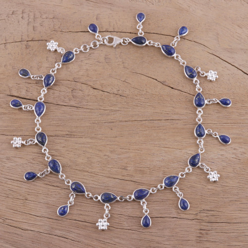 Handmade Lapis Lazuli and Sterling Silver Anklet from India 'Tidal Luster'