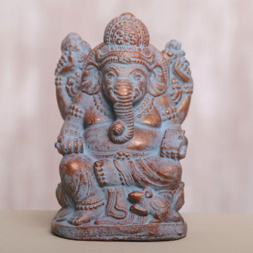 Hand Made Cast Stone Statuette of Hindu Deity Ganesha 'Ganesha Guardian'