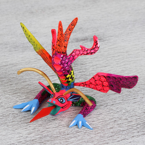 Colorful Hand Carved and Painted Dragon Alebrije Figurine 'Acrobatic Dragon'