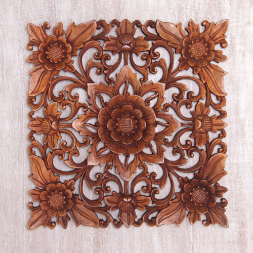 Hand Carved Suar Wood Floral Wall Relief Panel 'Floral Adornment'