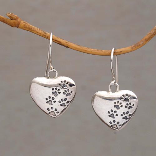 Heart-Shaped Sterling Silver Paw Print Earrings from Bali 'Loving Trails'