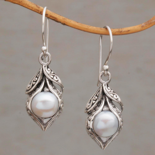 Cultured Freshwater Pearl Dangle Earrings from Bali 'Moonlit Petals'