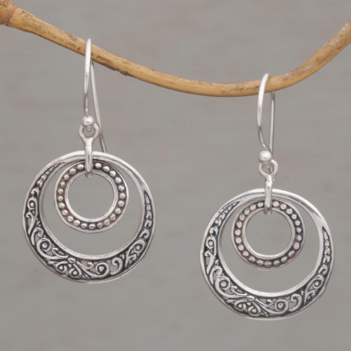 Hand Crafted Balinese Sterling Silver Dangle Earrings 'Dreamy Wanderer'