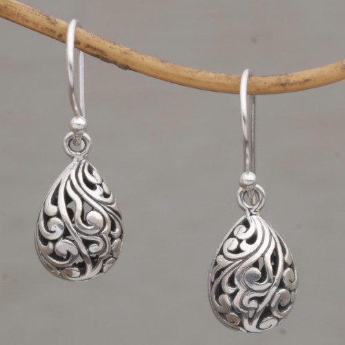 Hand Crafted Balinese Sterling Silver Dangle Earrings 'Envelop Eternity'