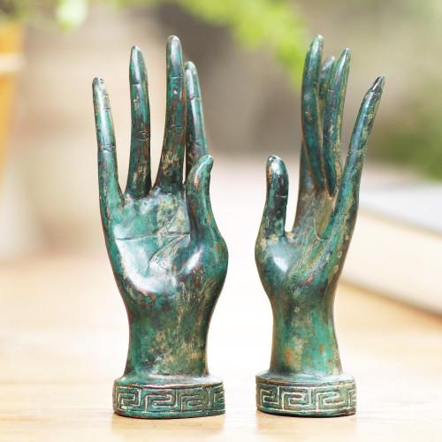 Pair of Handcrafted Balinese Bronze Goddess Hand Statuettes 'Hands of a Goddess'