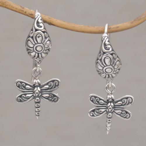Handmade Balinese Sterling Silver Dragonfly Dangle Earrings 'Dragonfly Delight'