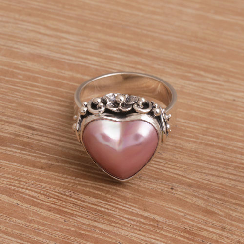 Handmade 925 Sterling Silver Cultured Pearl Cocktail Ring 'Stranger in Love'