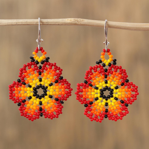 Glass Beaded Floral Dangle Earrings in Red from Mexico 'Blazing Flowers'