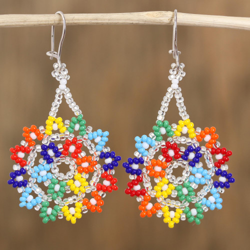 Multicolored Glass Beaded Dangle Earrings from Mexico 'Colors of Happiness'