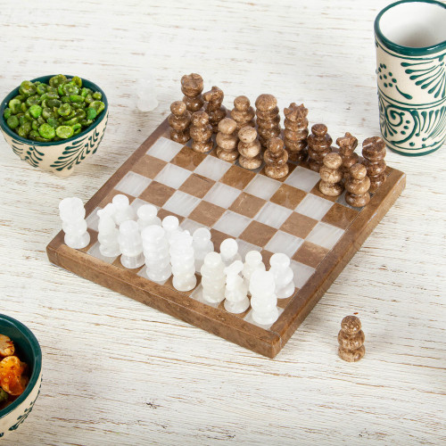 Onyx and Marble Mini Chess Set in Brown and Ivory 5 In 'Brown and Ivory Challenge'