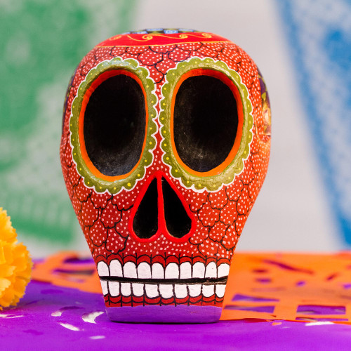 Mexican Hand Painted Terracotta Hue Wooden Skull Figurine 'Death and Folklore'