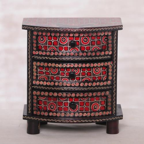 Kawung Motif Handcrafted Wood Batik Jewelry Box 'Kawung Secrets'