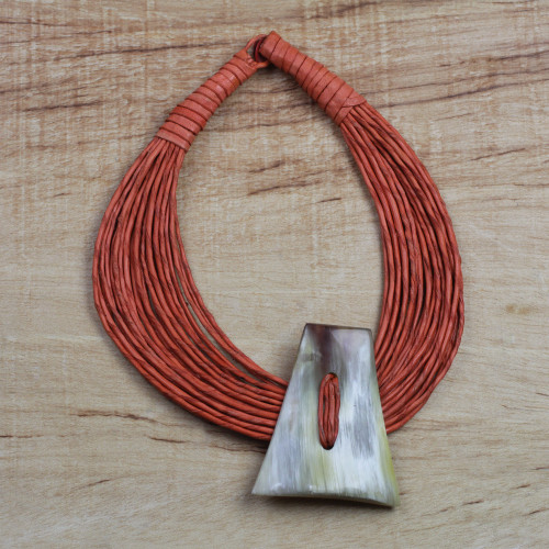 Ghanaian Orange Leather and Bone Statement Cord Necklace 'Laami'
