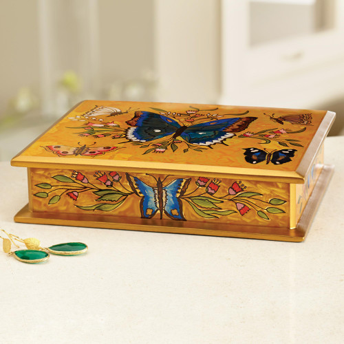 Reverse Painted Glass on Wood Jewelry Box with Butterflies 'Butterfly Court'