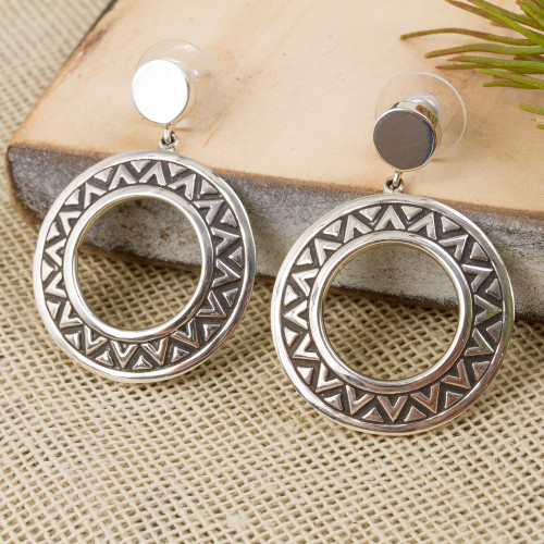 Zigzag Motif Sterling Silver Dangle Earrings from Mexico 'Zigzag Rings'