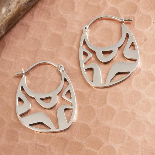 Modern Openwork Sterling Silver Hoop Earrings from Mexico 'Modern Gleam'