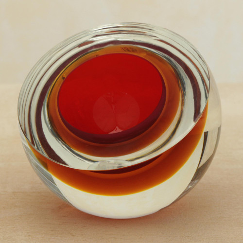Red-Orange Murano-Inspired Art Glass Sculpture 'Fireball'