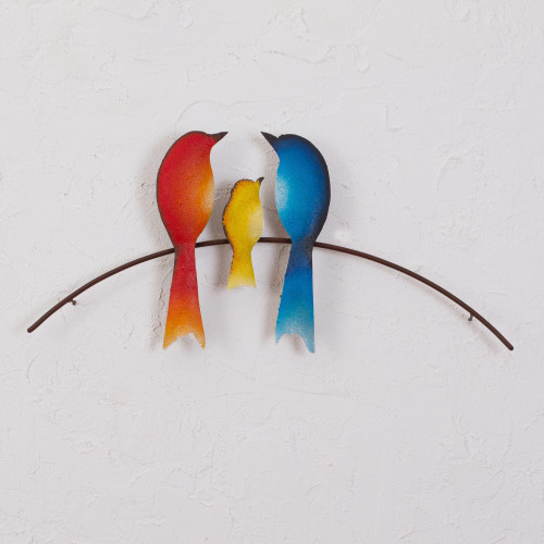 Steel Wall Sculpture of Three Birds from Mexico 'Bird Family'