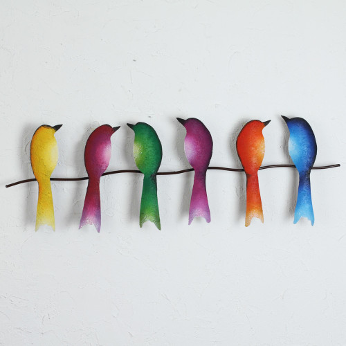 Steel Wall Sculpture of Six Colorful Birds from Mexico 'Singing Sextet'