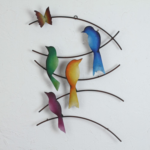 Steel Wall Sculpture of Birds and a Butterfly from Mexico 'Friends of Summer'