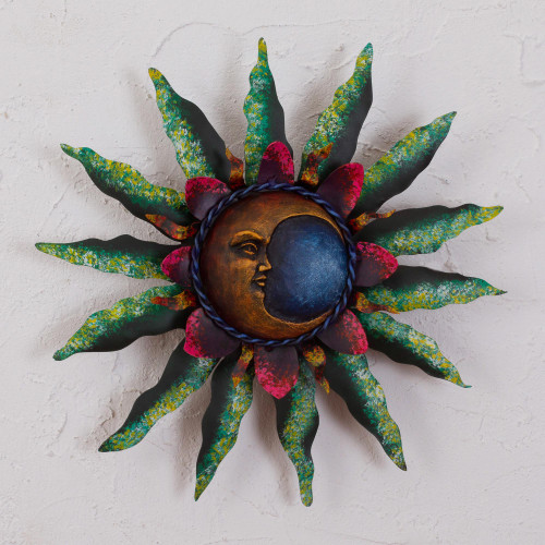 Crescent Moon Steel Wall Sculpture in Green from Mexico 'Gleaming Eclipse'