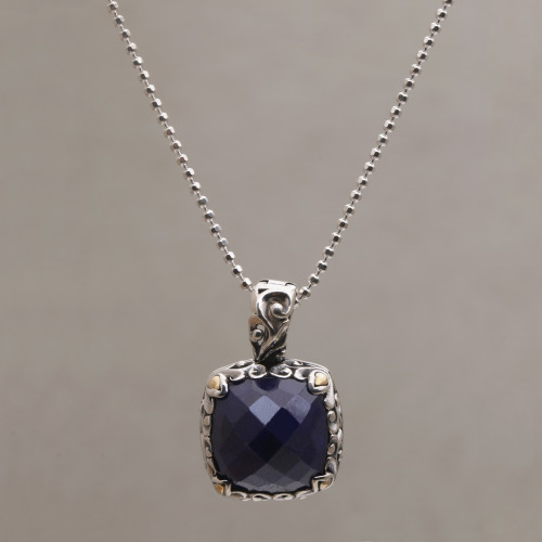 Sapphire and Gold Accented Sterling Silver Pendant Necklace 'Majestic Eden'