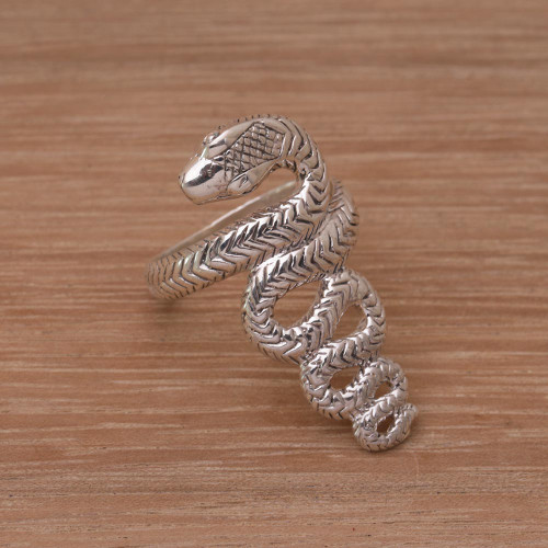 Handmade 925 Sterling Silver Snake Cocktail Ring 'Slinking Serpent'