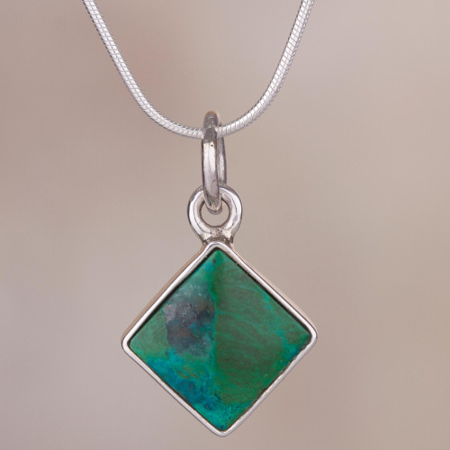 Chrysocolla and Silver Necklace Handcrafted in Peru 'Evocative Color'