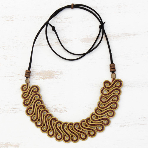 Golden Grass Statement Necklace with Adjustable Cord 'Winding Vine'
