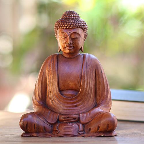 Hand Crafted Balinese Suar Wood Buddha Meditation Statuette 'Serenity Buddha'