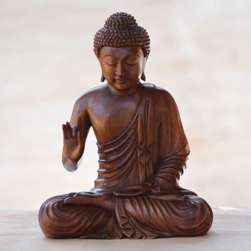 Hand Crafted Balinese Suar Wood Buddha Meditation Statuette 'Buddha Peace'