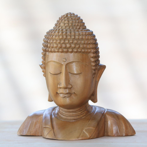 Hand Carved Suar Wood Buddha's Head Statuette from Bali 'Serenity of Buddha'