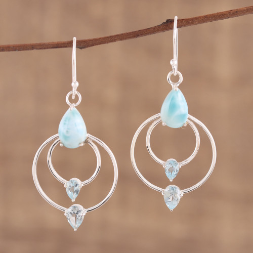 Blue Topaz and Larimar Dangle Earrings from India 'Sparkling Sky'