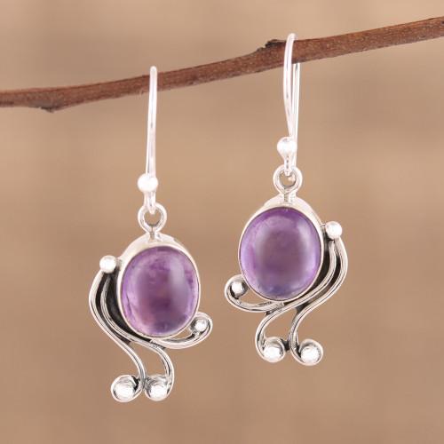 Handmade 925 Sterling Silver Amethyst Dangle Earrings 'Pleasing Violet'