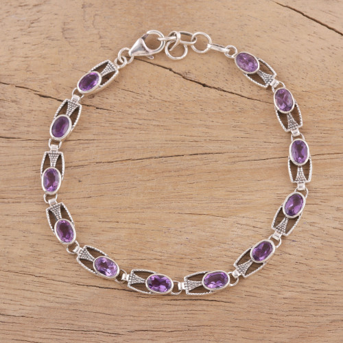 Handmade Sterling Silver and Amethyst Bracelet from India 'Lavender Spell'