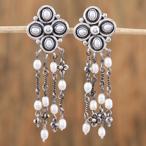 Cultured Pearl and Sterling Silver Waterfall Earrings 'Pearl Stream'