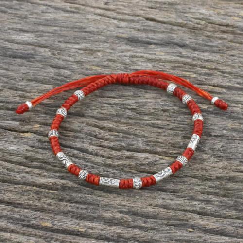 Red Unisex 950 Karen Silver Cord Beaded Bracelet 'The Balance'