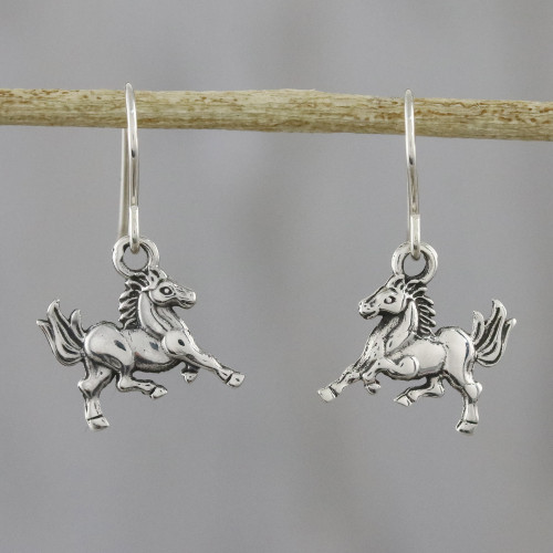 Sterling Silver Horse Dangle Earrings from Thailand 'Galloping Stallions'