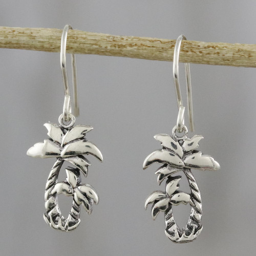 Sterling Silver Twin Palm Dangle Earrings from Thailand 'Paradise Palms'