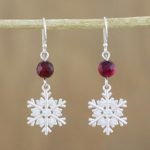 Sterling Silver Snowflake Earrings with Chalcedony 'Winter Wonderland'