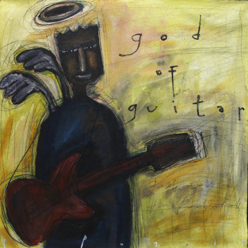 Modern Painting of a Guitarist by a Javanese Artist 'God of Guitar'