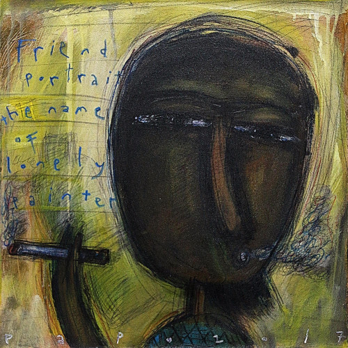 Signed Modern Painting of an Artist from Java 'Lonely Painter'