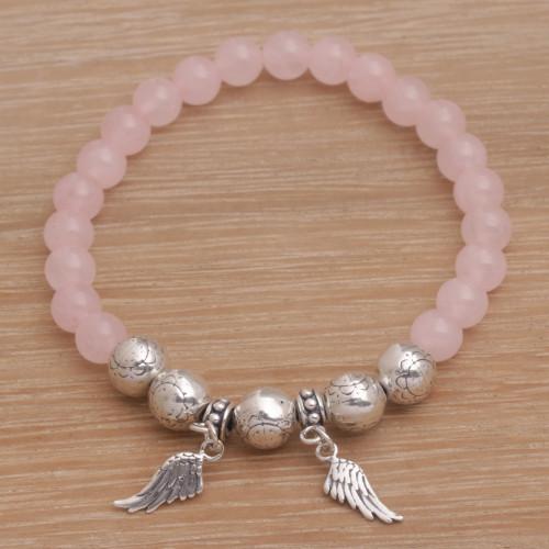 Rose Quartz Beaded Stretch Bracelet Sterling Silver Wings 'Dawn Flight'