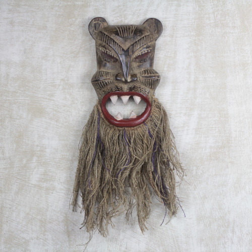 Sese Wood African Tiger Mask with Jute Beard 'Roar of the Tiger'