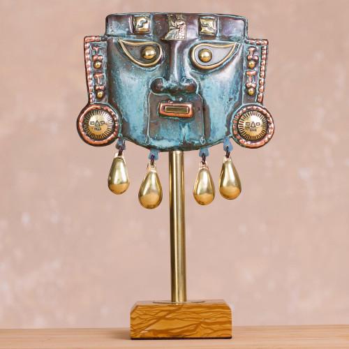 Oxidized Copper Decorative Funeral Mask Statuette 'Reverent'