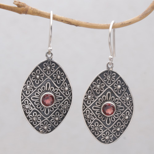 Garnet and Sterling Silver Floral Motif Dangle Earrings 'Shield of Daisies'