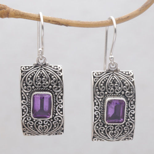 Rectangular Amethyst and Sterling Silver Dangle Earrings 'Mystical Sanctuary'
